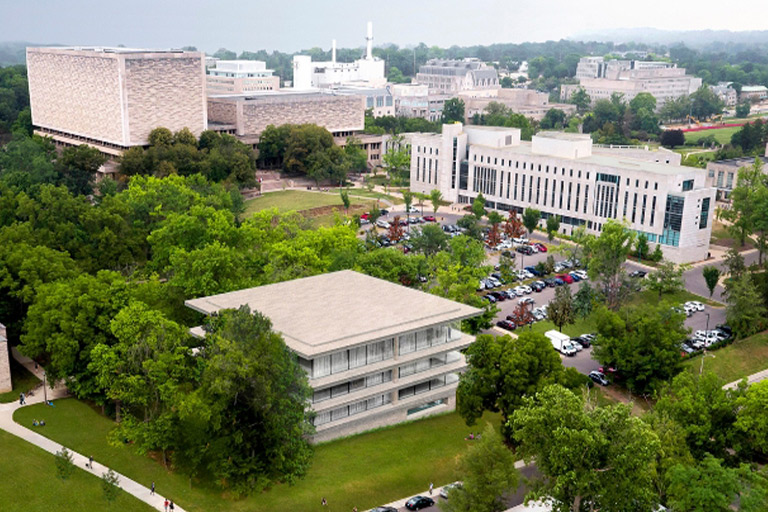 Aerial view of IU Bloomington campus.